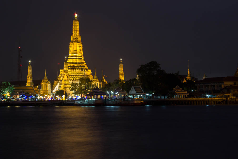 Wat Arun by night from the banks of the Chao Praya.