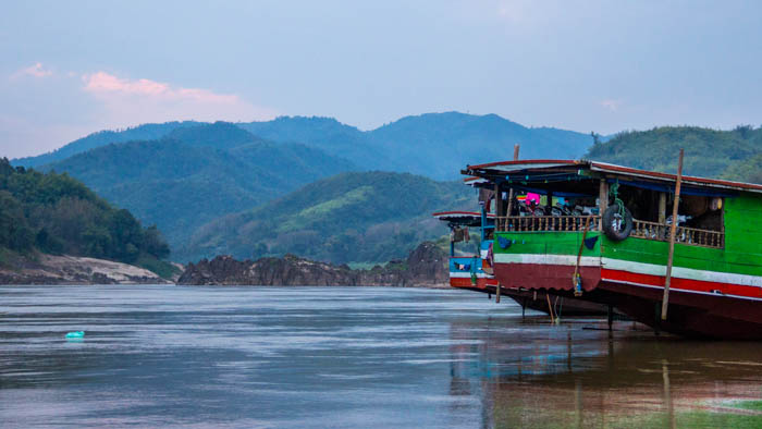 Pakbeng pier by dusk - peaceful and not much left of the previous hustle and bustle of people getting off the boats.