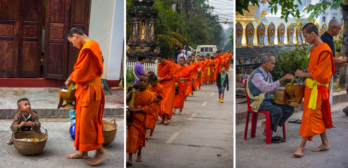 The procession of the Luang Prabang Monks at the early hours of the day.