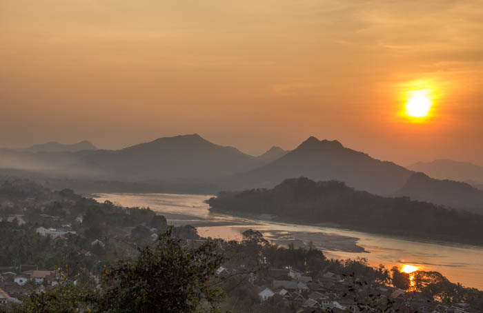 View from the Wat Chomsi on top of Mount Phou Si.