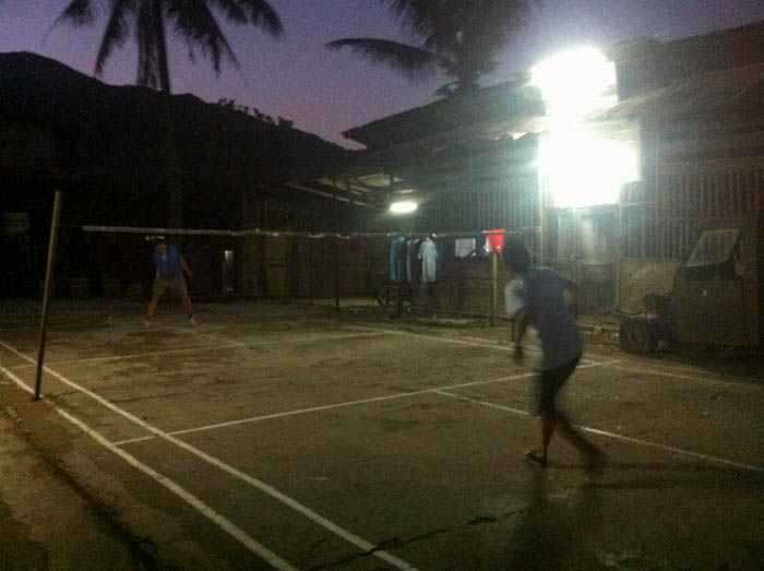 Some late night badminton action in Muang Khua.