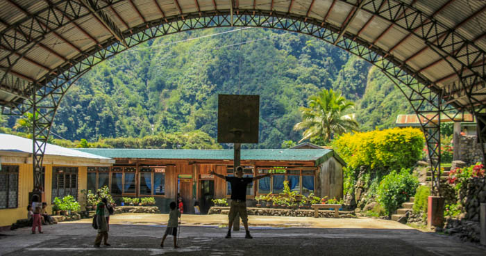 In the Philippines every little village has a proper basketball court. So sweet.