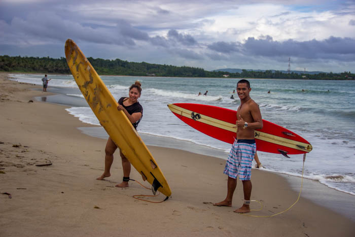 Zarina and James about to hit the surf.