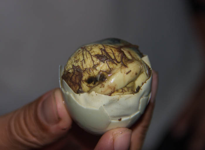 The Balut - a fertilized duck embryo that is boiled and eaten in the shell.