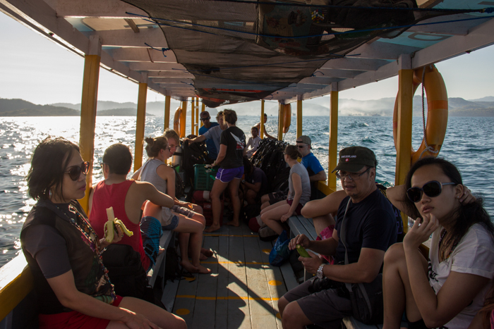 Our mixed group of divers on the way to the first site.