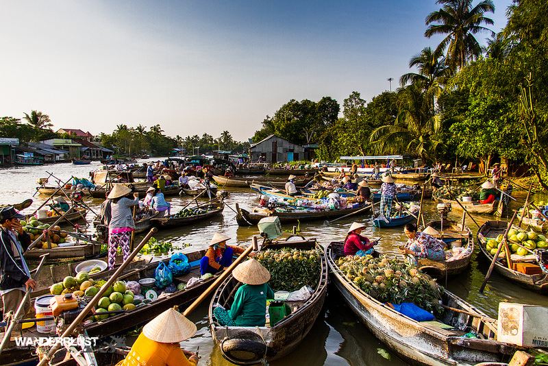 Cai Rang Floating Market in Can Tho, Vietnam