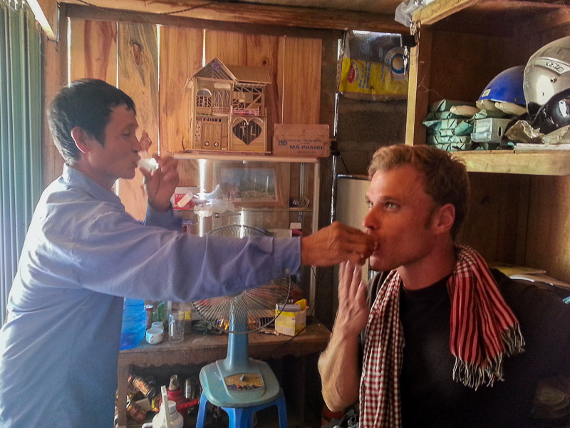 Drinking rice wine with the locals somewhere in Ha Giang, Vietnam