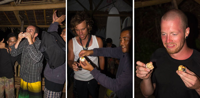 Balut eating in Gubat, Philippines