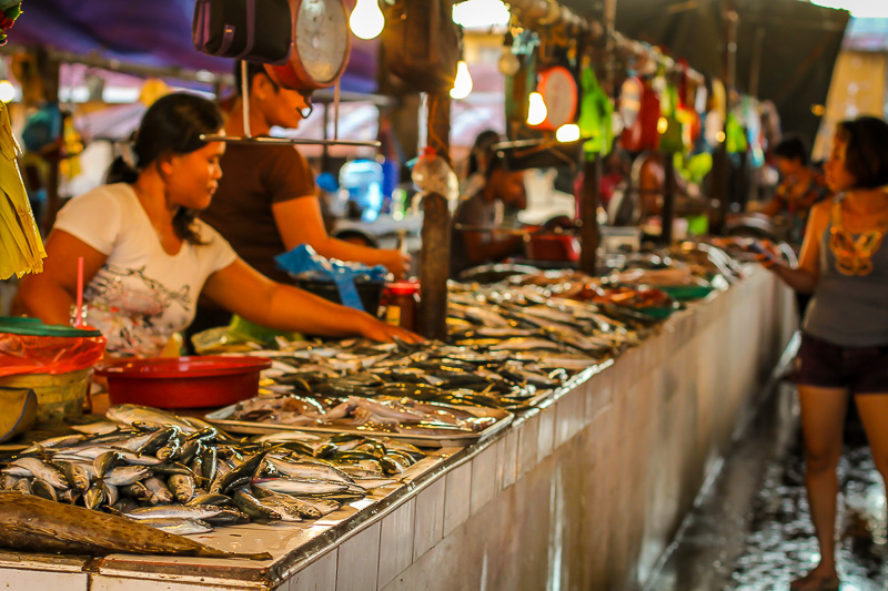 Coron fish market night