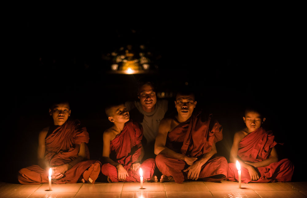 monastery monks at night