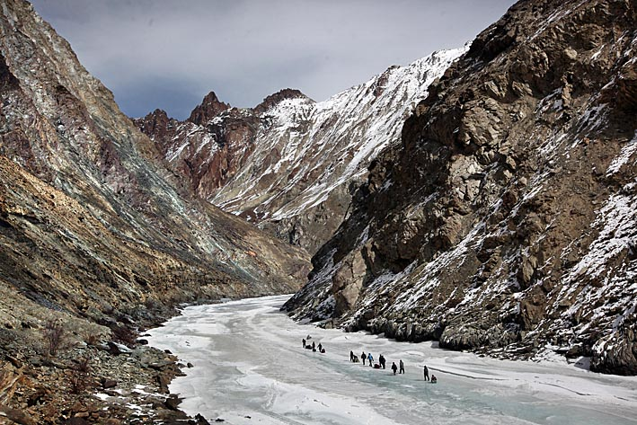 Walking on the frozen Zanskar River in Ladakh