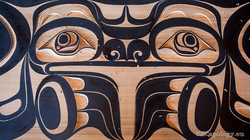 Carved panel at the Tofino Carving Festival